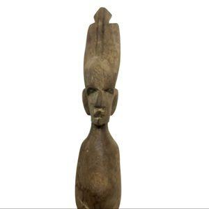 Vintage Accents - Vintage Wooden Fork Carved Nude Figure Mid Century